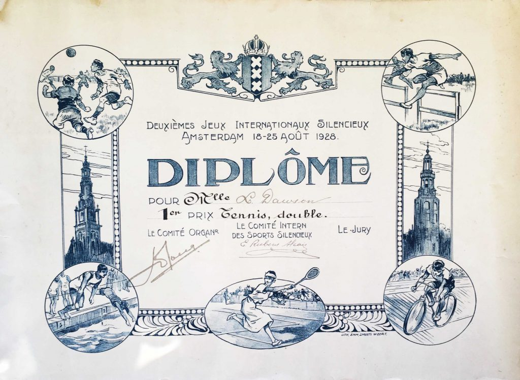 2nd International Games For The Deaf Certificate 1928 For Tennis