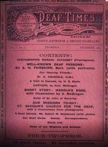 The British Deaf Times Magazine Volume 1, Issue 1.