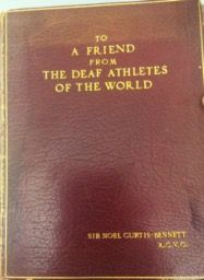 """""""To A Friend From The Deaf Athletes Of The World"""" – Presentation Book"""